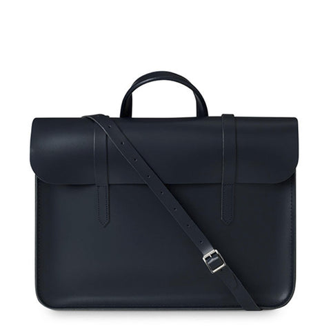 Folio Bag in Leather - Navy