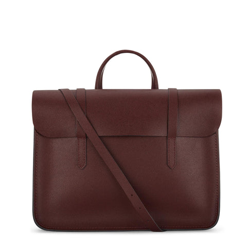 Folio Bag in Saffiano Leather - Oxblood Saffiano