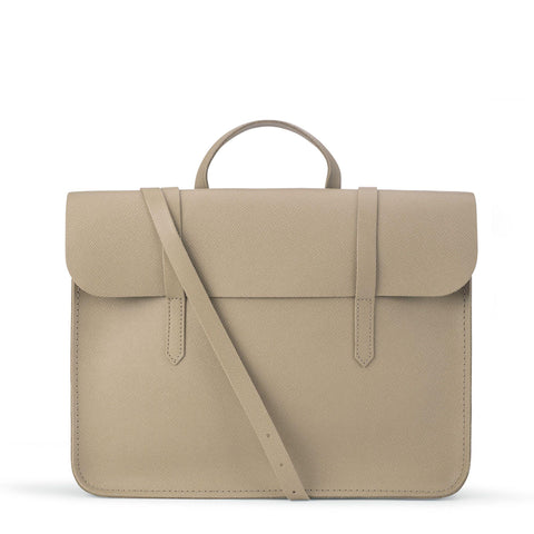 Folio Bag in Saffiano Leather - Putty Saffiano