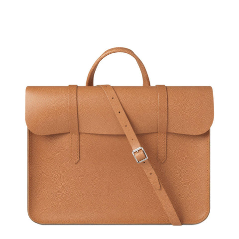 Folio Bag in Saffiano Leather - Ochre