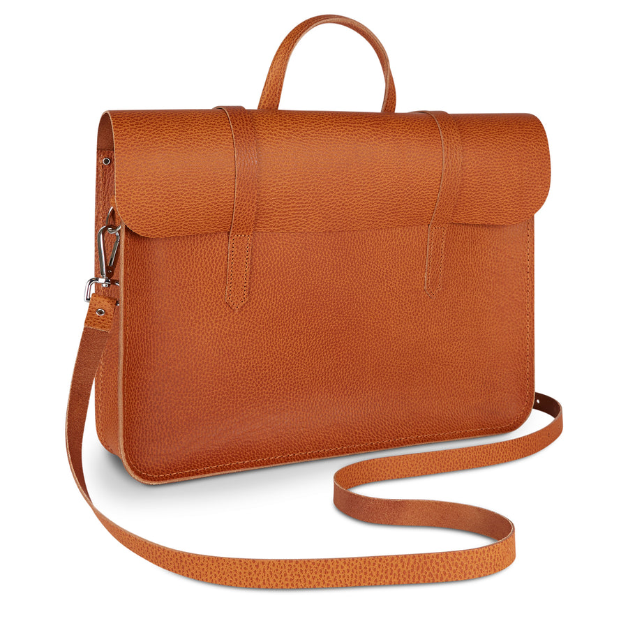 Folio Bag in Saddle Leather - Canyon Celtic Grain - Cambridge Satchel