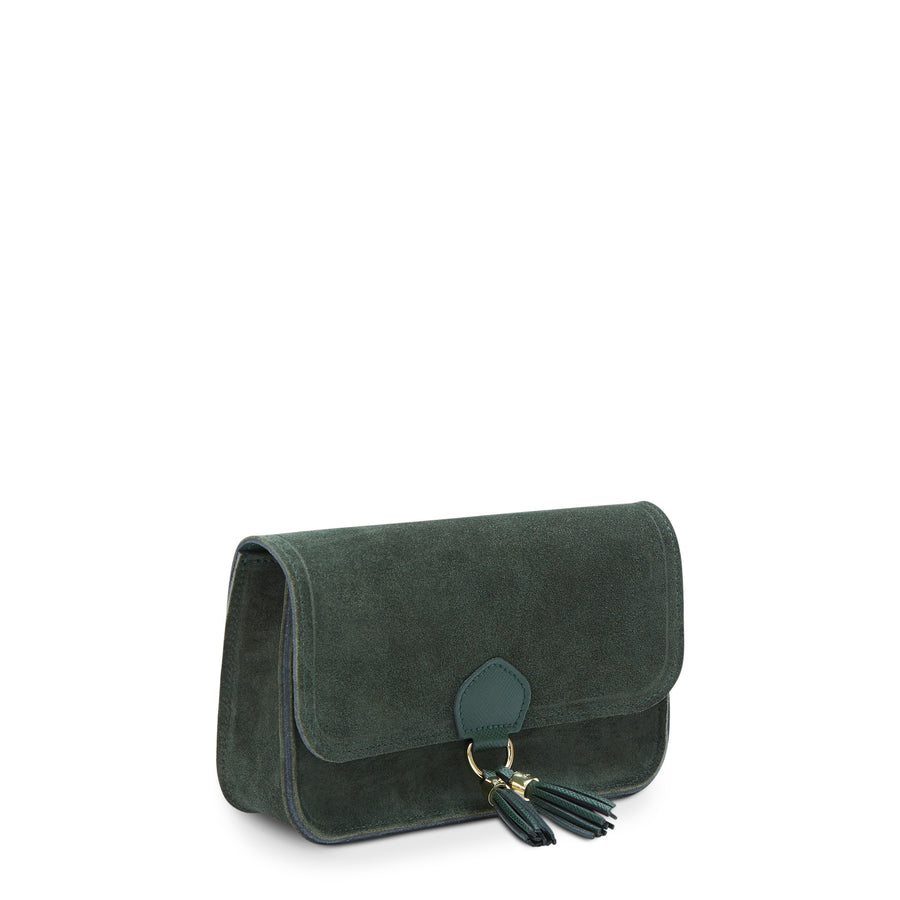 Tassel Clutch Bag - Emerald Suede