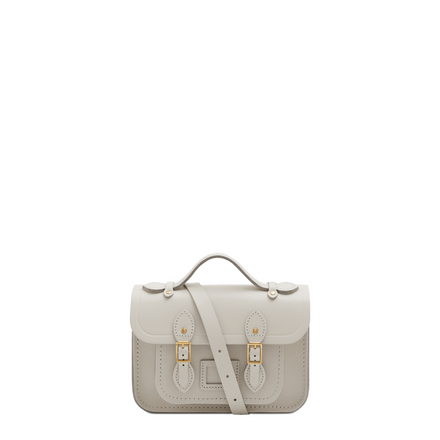 Magnetic Mini Satchel in Leather - Lily White