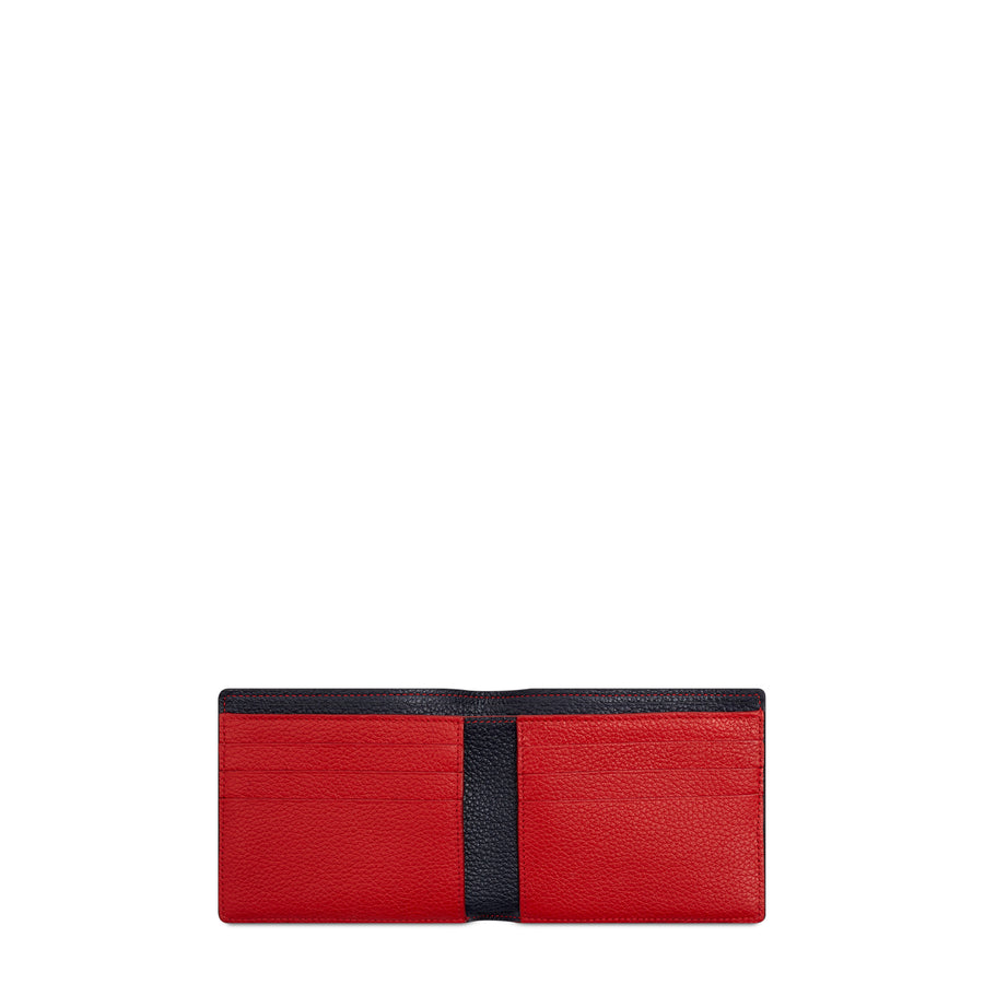 The Cambridge Satchel Company Grain Billfold Wallet in Leather - Navy / Red