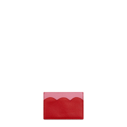 Cloud Card Case in Leather - Pink & Red Grain