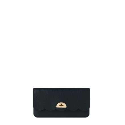 Large Cloud Purse with Card Slots in Grain Leather - Black Grain