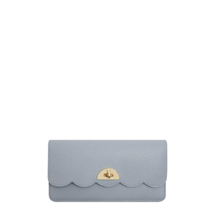 Large Cloud Purse with Card Slots in Grain Leather - French Grey