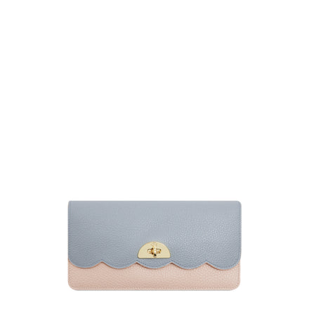 Large Cloud Purse with Card Slots in Grain Leather - Soft Pink & French Grey