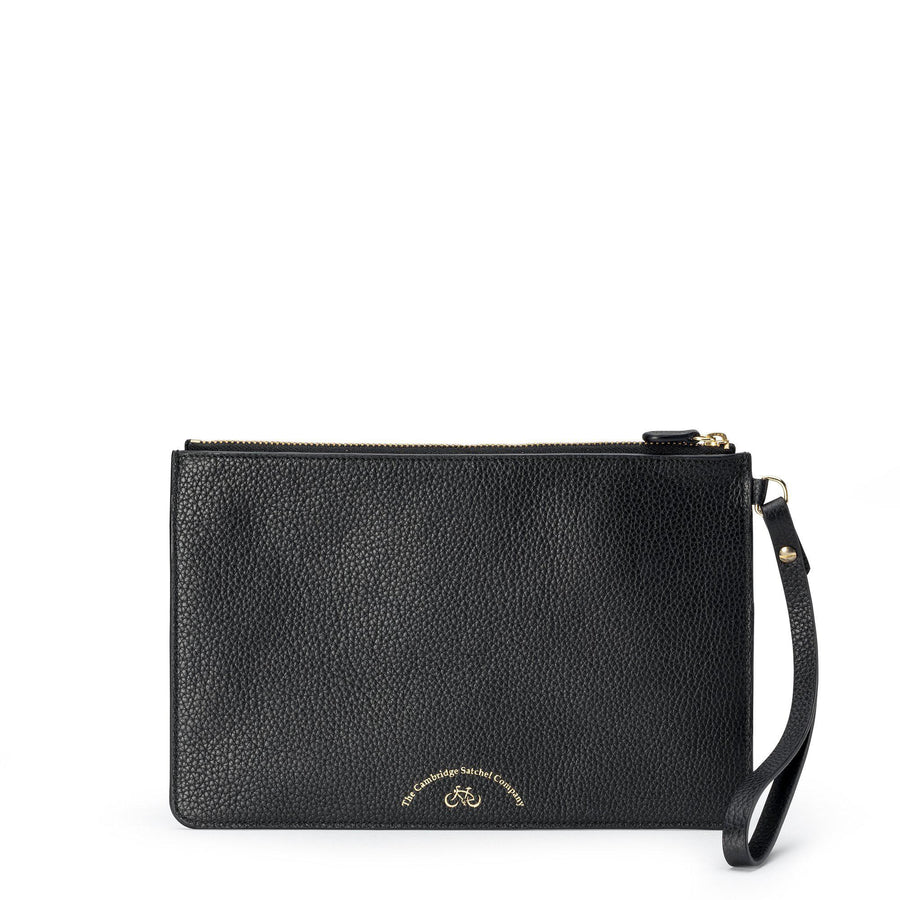 Clutch in Grain Leather - Black - Cambridge Satchel