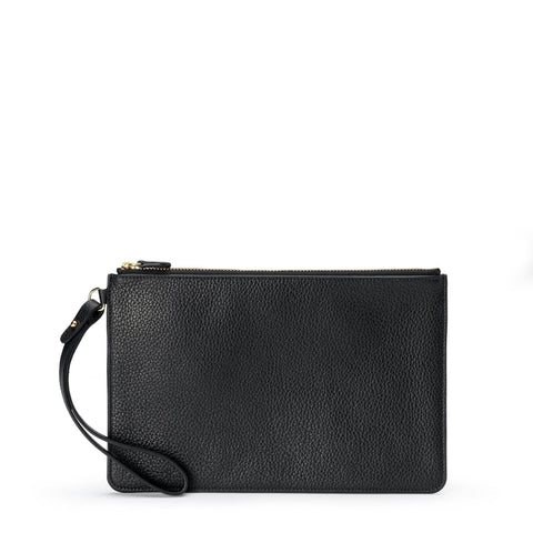 Clutch in Grain Leather - Black