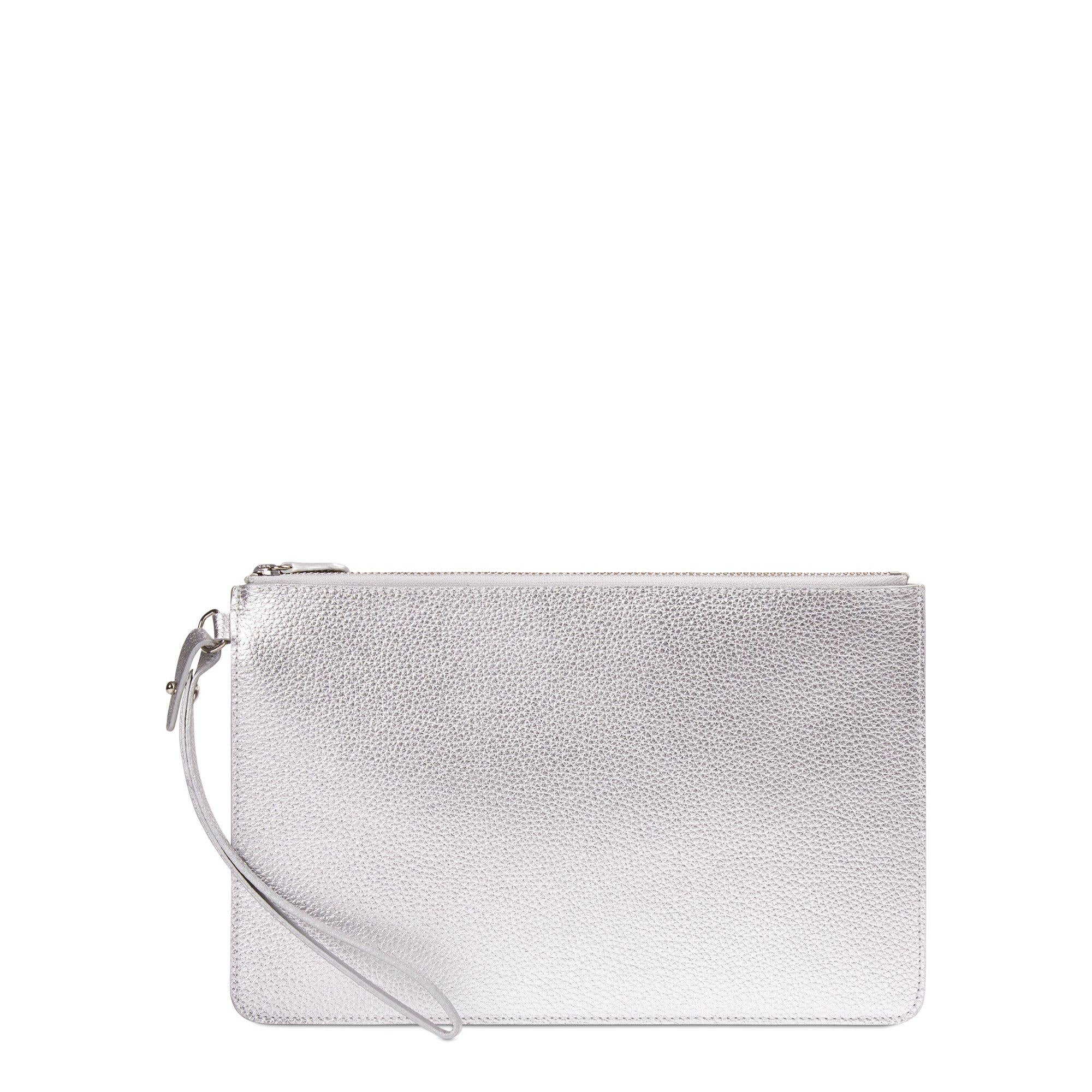 Clutch in Grain Leather - Silver Grain
