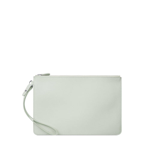 Clutch in Grain Leather - Eggshell