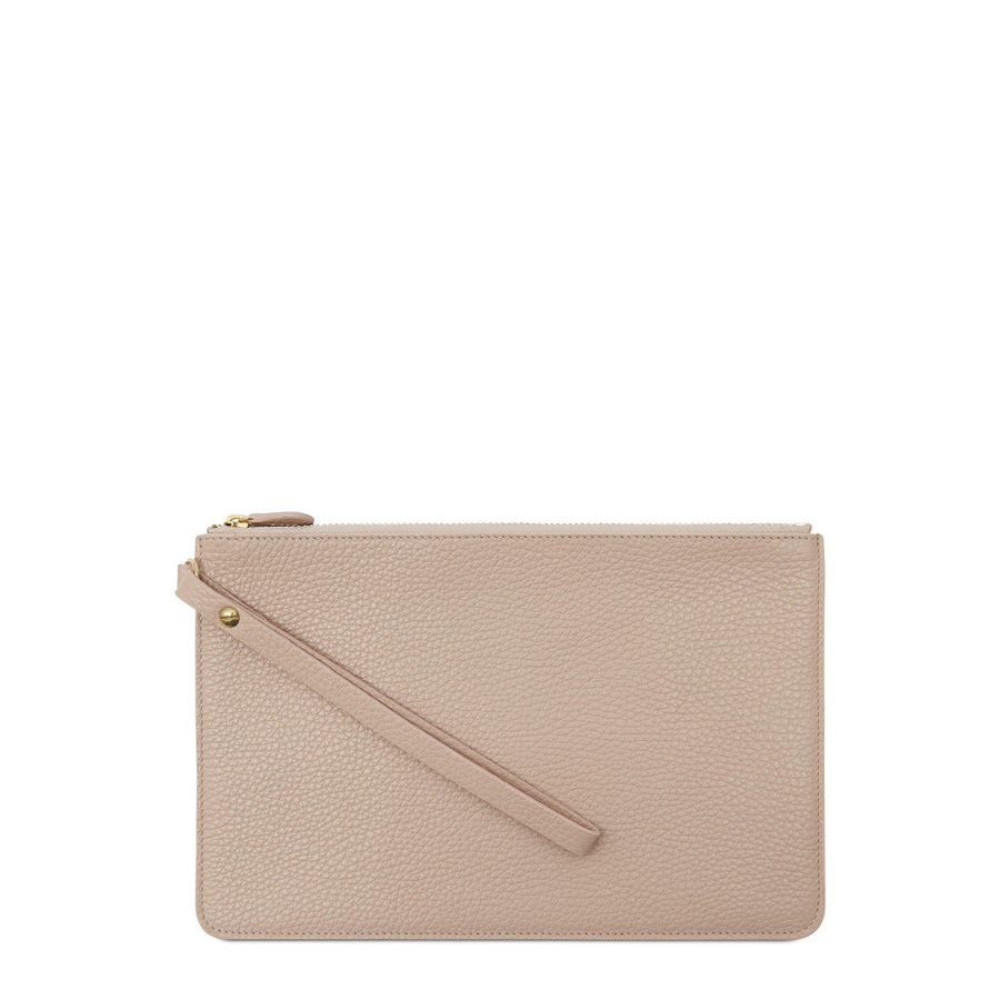 Clutch in Grain Leather - Soft Pink