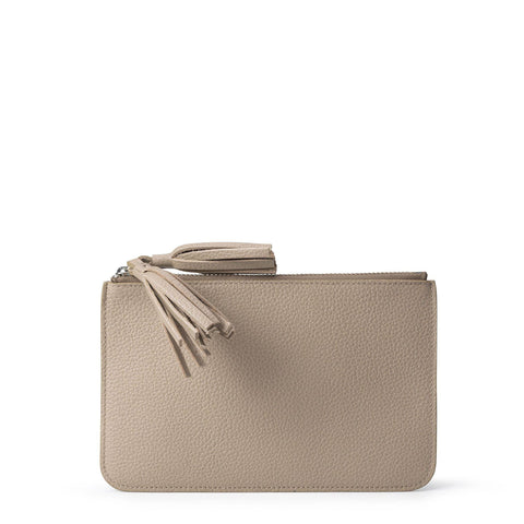 Flat Tassel Pouch in Grain Leather - Putty Grain