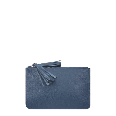 Flat Tassel Pouch in Grain Leather - Peacock