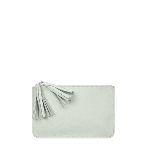 Flat Tassel Pouch in Grain Leather - Eggshell