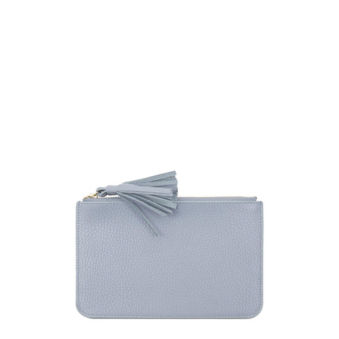 Flat Tassel Pouch in Grain Leather - Lavender Blue