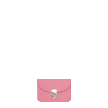 Small Push Lock Purse in Leather - Pink Grain