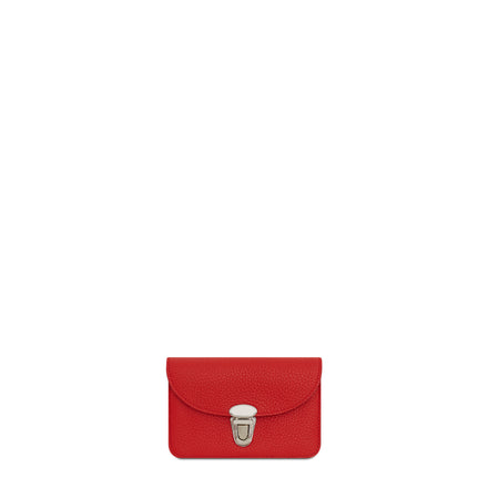 Small Push Lock Purse in Leather - Red Grain