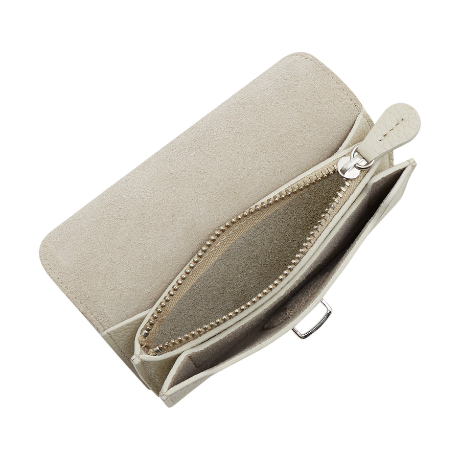 Small Push Lock Purse in Leather - Taupe Grain