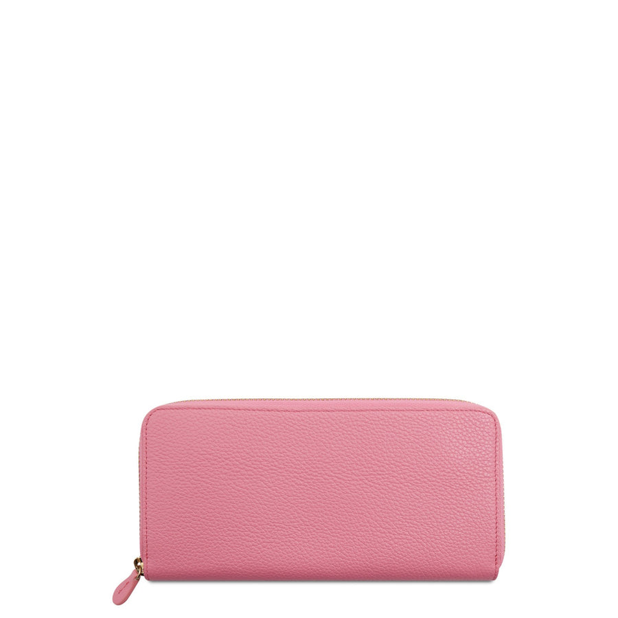 Large Zip Around Purse in Leather - Pink Grain