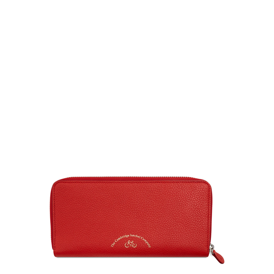 The Cambridge Satchel Company Large Grain Zip Around Purse in Leather - Red