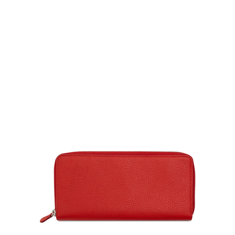 Large Zip Around Purse in Leather - Red Grain