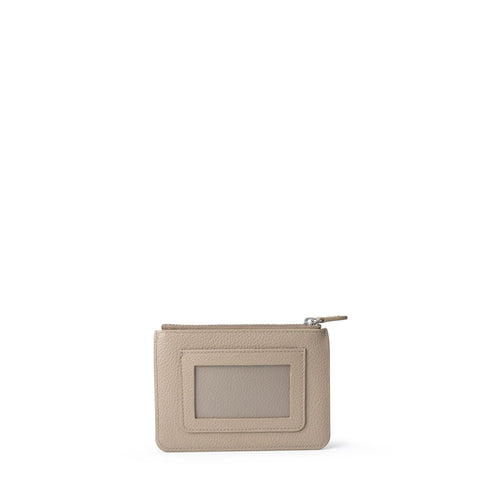 The Zip Purse in Grain Leather - Putty Grain