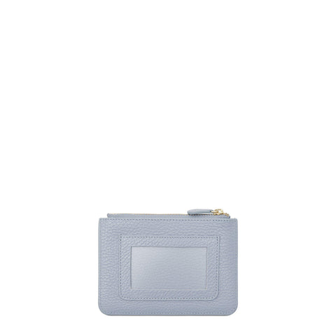Zip Purse in Grain Leather - Lavender Blue