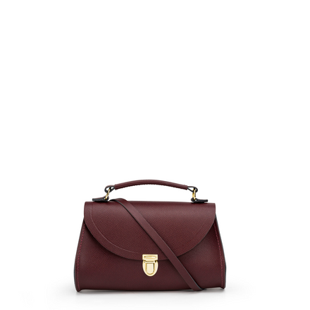 Oxblood Saffiano Leather Cross-Body Mini Poppy Handbag for Women