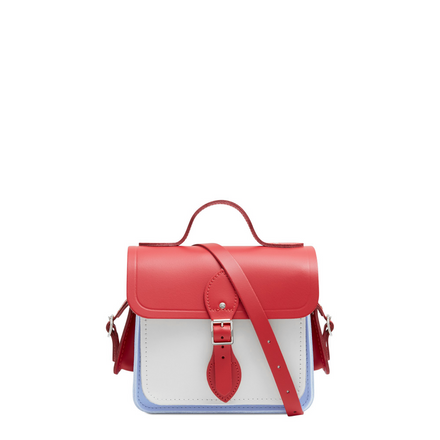 Traveller Bag with Side Pockets in Leather - Red Berry, Lily White & Bluebell Matte