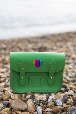 Tiny Satchel in Leather - Green with Heart and CSC Logo in Rainbow Foil