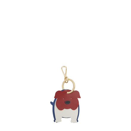 Bruno the British Bulldog Keyring in Leather - Red, White on Sand & Italian Blue Matte