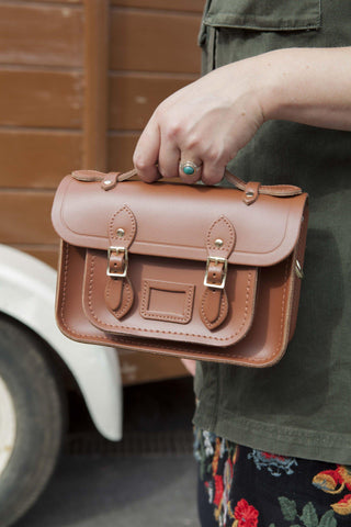 Magnetic Mini Satchel in Leather - Saddle