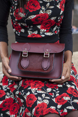 Womens- 11 inch Magnetic Satchel in Leather - Oxblood & Oxblood Haircalf Pocket