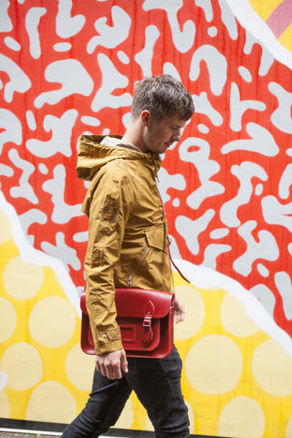 Mens- 14 Inch Red Satchel