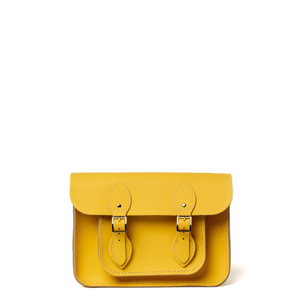 11 Inch Magnetic Satchel in Leather - Indian Summer Yellow Matte