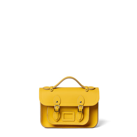 Magnetic Mini Satchel in Leather - Indian Summer Yellow Matte
