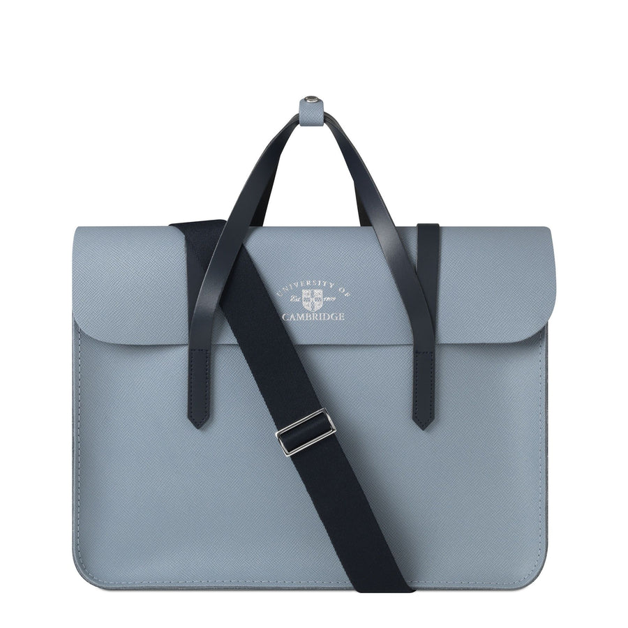 University of Cambridge Large Music Case in Leather - French Grey Saffiano & Navy