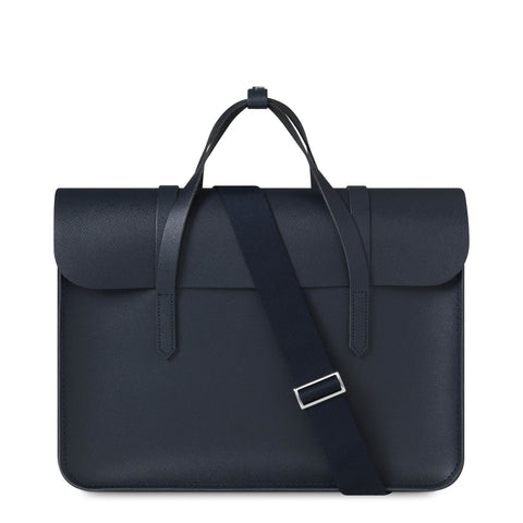 Large Folio Bag in Saffiano Leather - Navy Saffiano