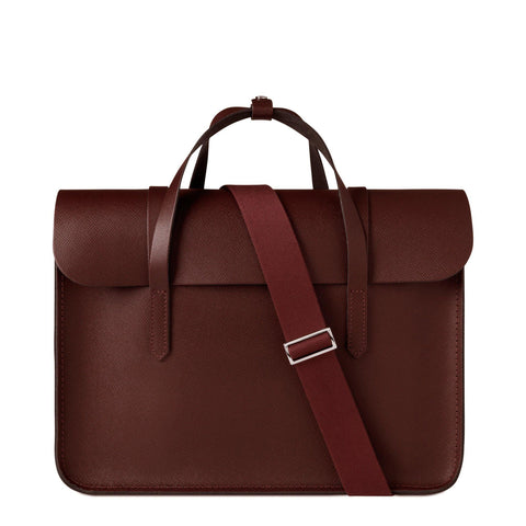Large Folio Bag in Saffiano Leather - Oxblood Saffiano