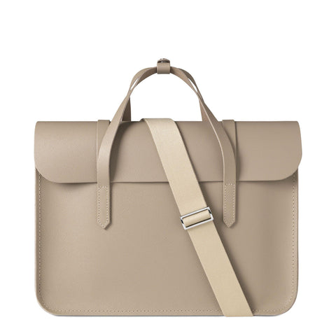 Large Folio Bag in Saffiano Leather - Putty Saffiano