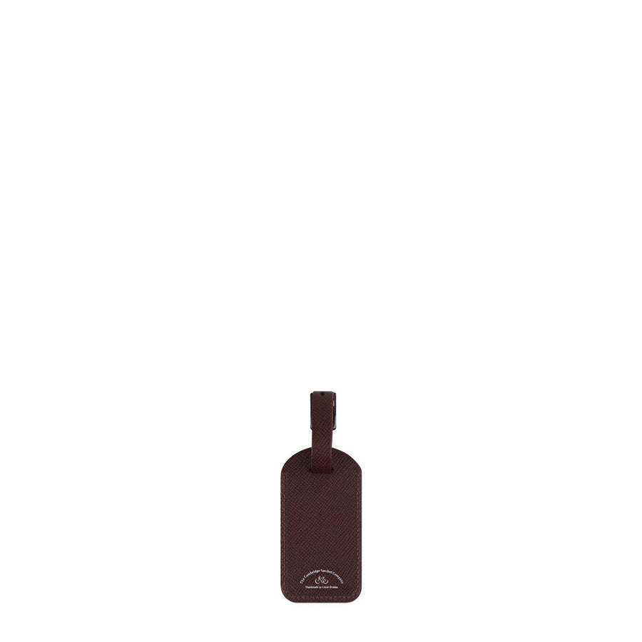 Luggage Tag in Leather - Oxblood Saffiano