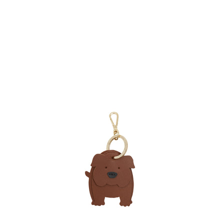 Daisy the British Bulldog Keyring Charm in Leather - Vintage & Black