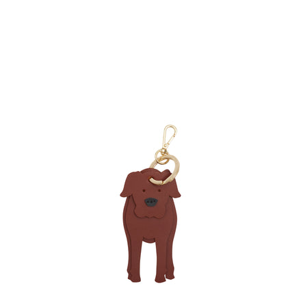 Isabella the Boxer Dog Keyring in Leather - Brandy & Black