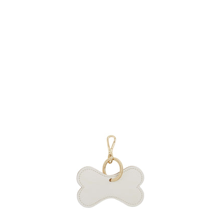 Dog Bone Keyring Charm in Leather - White on Sand