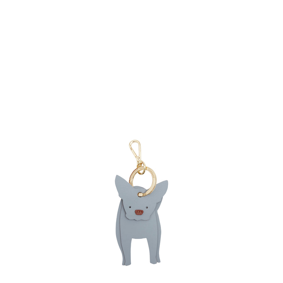 Collette the French Bulldog Charm in Leather - French Grey & Brandy