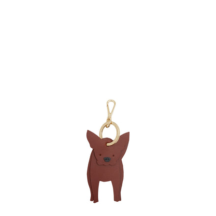 Claude the French Bulldog Keyring Charm in Leather - Brandy & Black
