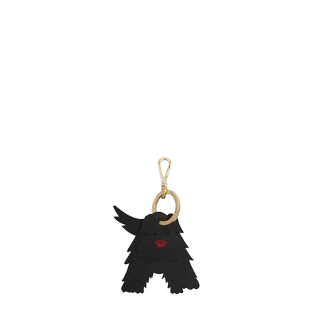 Bobby the Skye Terrier Dog Charm in Leather - Black & Red