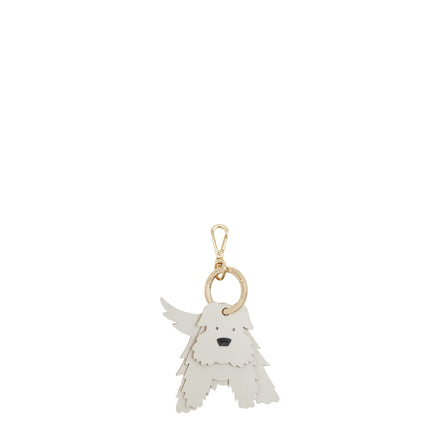 Angus the Scottie Dog Keyring in Leather - White on Sand & Black